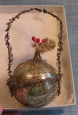 Old German Glass Wire Wrapped Flower Basket Christmas Ornament 1 | eBay