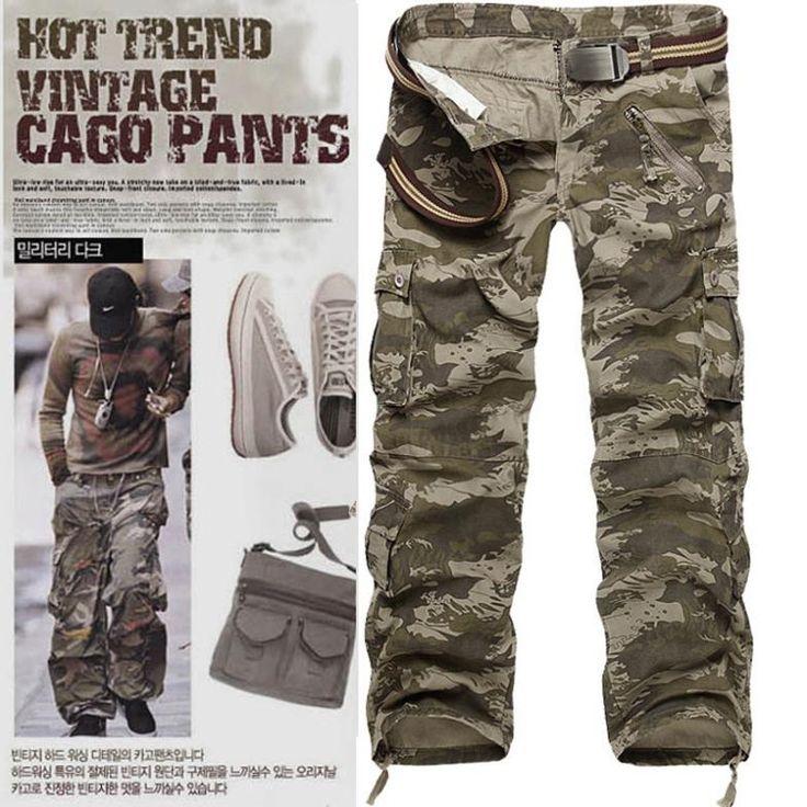 Новый 2014 мужские брюки военные камуфляж мужские бегунов грузовые бренд черный на открытом воздухе брюки на открытом воздухе спортивные человек большой размер мешковатые штаны