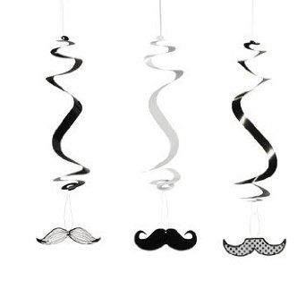 Amazon.com: Mustache Party Dangling Swirls 12 Count: Toys & Games
