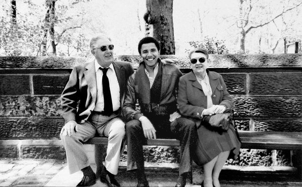 Barack Obama with his grandparents, Stanley Armour Dunham and Madelyn Dunham in New York in the 1980s.