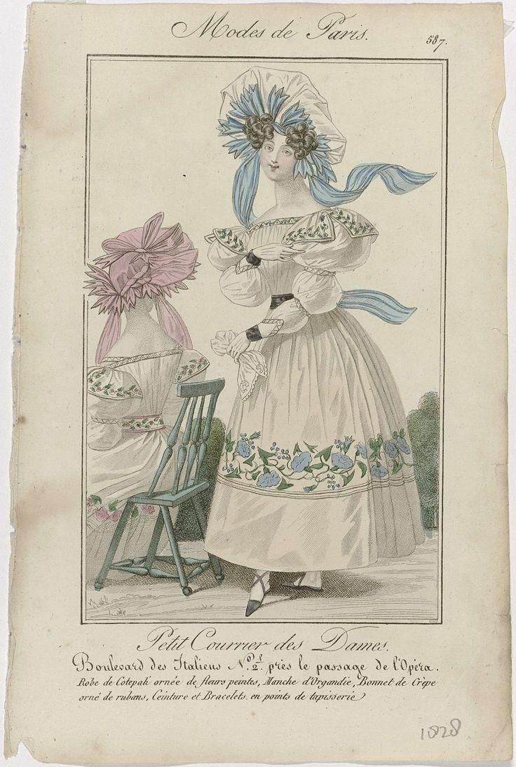 Anonymous | Petit Courrier des Dames, 1828, No. 587 : Robe de Cotepali..., Anonymous, Dupré (uitgever), 1828 | Vrouw gekleed in een japon van 'cotepali' versierd met beschilderde bloemen. Mouwen van organdie. Op het hoofd een muts van crêpe, versierd met linten. Verdere accessoires: ceintuur, armbanden, handschoenen, zakdoek, platte schoenen met gekruiste banden. Prent uit het modetijdschrift Petit Courrier des Dames (1821-1868).