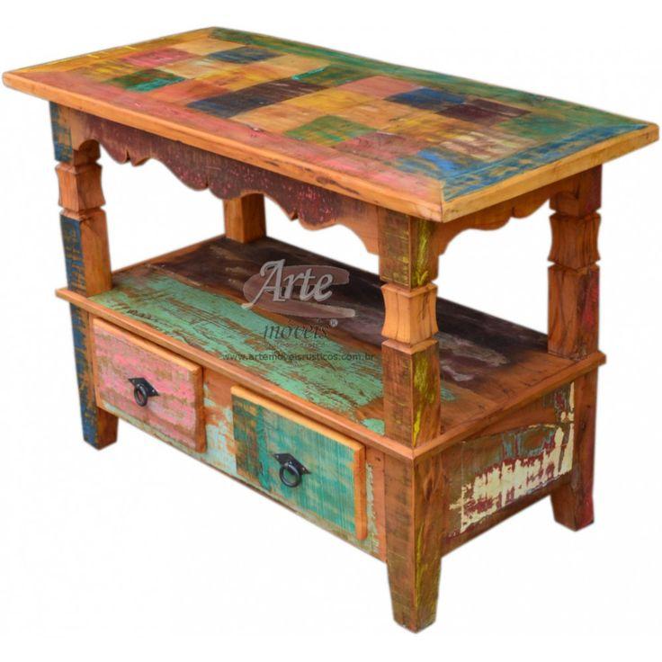 Rack Colorido Aberto 2 gavetas 0,95 x 0,45 - 3236 - https://www.artemoveisrusticos.com.br/ #arte #móveis #rústicos