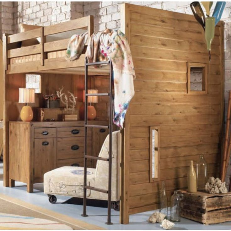 Full sized loft bed ideas for kate pinterest bunk for Diy rustic bunk beds