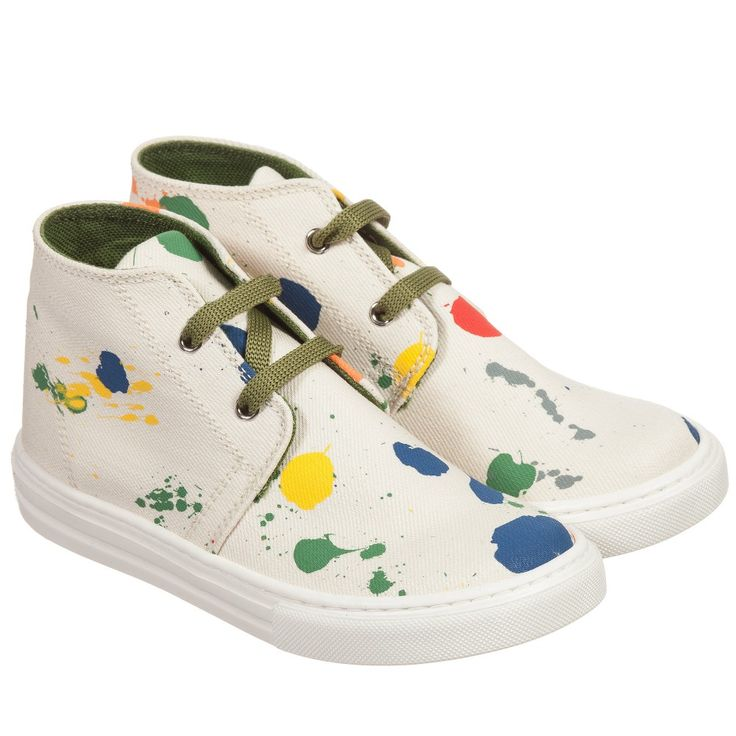 Stella McCartney Kids Ivory Canvas Paint Splattered 'Alonzo' Trainers  at Childrensalon.com