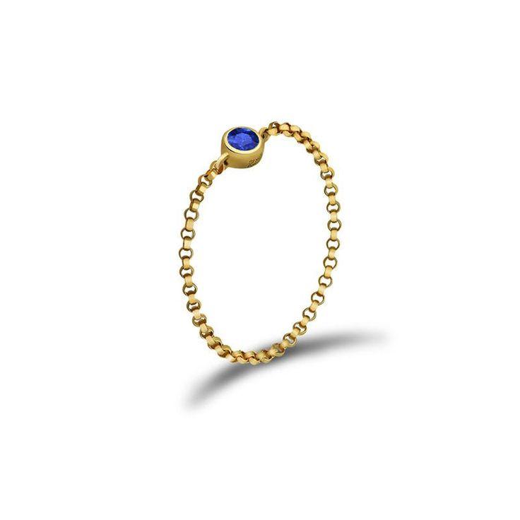 September Birth Stone Sapphire Chain Ring