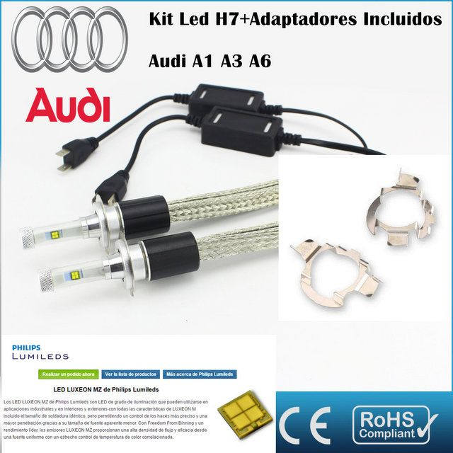 Kit Led AUDI A1 A3 A6, AR4,con led PHILIPS de 9600 Lúmenes, Kit de conversión de Faros Halogenos H7 a Faros Led + Adaptadores :: MERCAELITE, kit xenon,Kit Led,Bombillas Led y Xenon,Accesorios