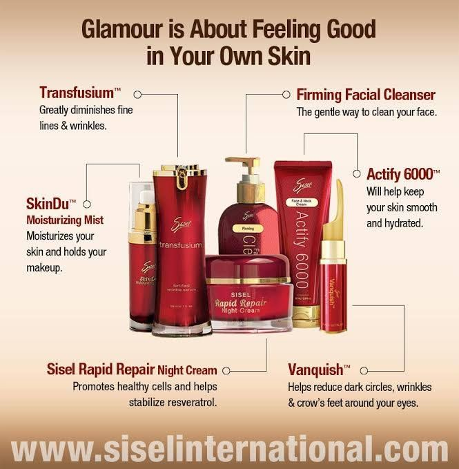 Feel glamorous in your own skin with Sisel's Transfusium, SkinDu, Rapid Repair Night Cream, Vanquish, Actify 6000, and Firming Facial Cleanser products. #SiselBeauty #SkinCare