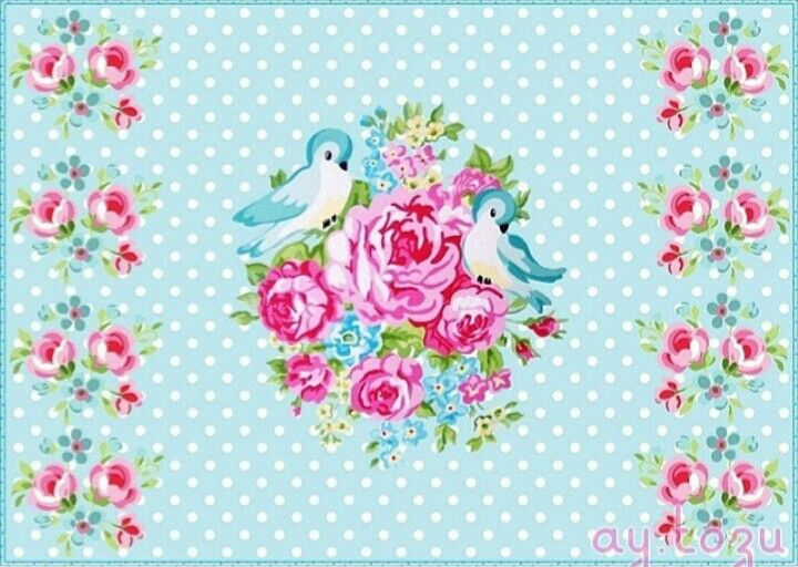 Sweet image of birds and flowers