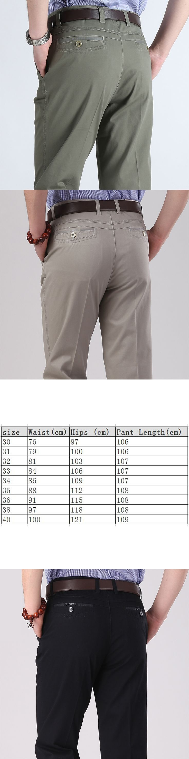 Men's Casual Long Pants Cotton Solid Thin Loose Straight Trousers Male Classic Brand High Quality Business