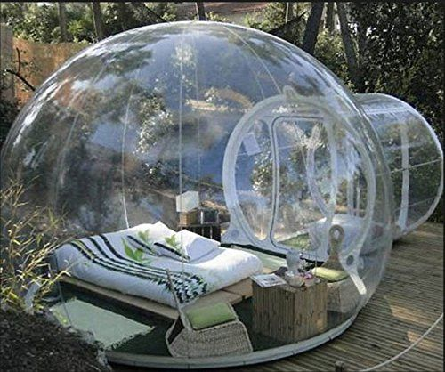 Enjoy camping and the outdoors in a different light with this unique single tunnel inflatable bubble tent. Great for backyards and families.