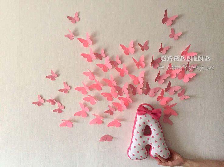 бабочки из бумаги своими руками мягкие буквы подушки бантик хлопок американский идеи для комнаты розовый на стене рисунок