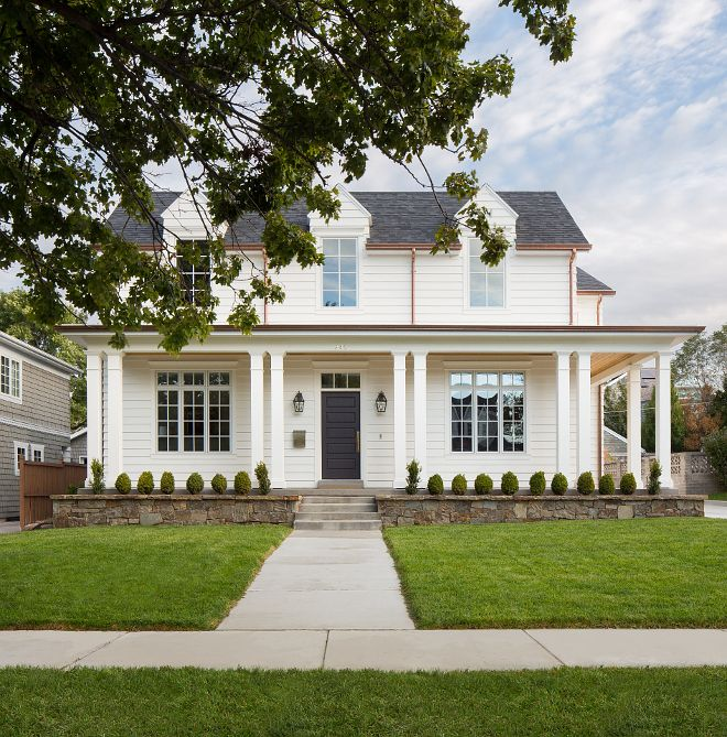 White Farmhouse Exterior Siding The exterior of the home is done is Artisan Hardie Boards in an 8 inch width plank White Farmhouse Exterior Siding #WhiteFarmhouse #Exterior #Siding