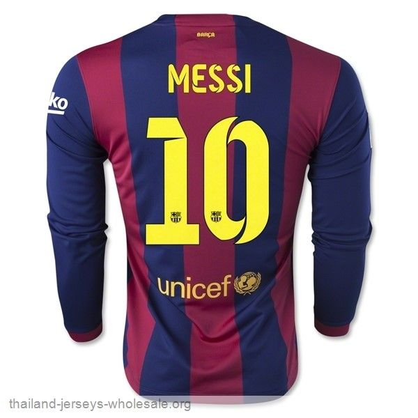 thailand barcelonal 10 messi 14 15 home long sleeve soccer jersey