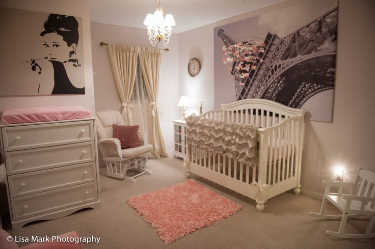 Spotted: #Storkcraft Tuscany Glider in little Jillian's pink and Paris themed nursery, as featured on Project Nursery.  #storkcraftnursery #storkcraftglider