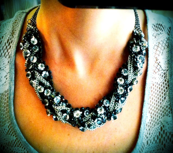 Rhinestone Bib Necklace by dbcarnaval on Etsy, $13.00