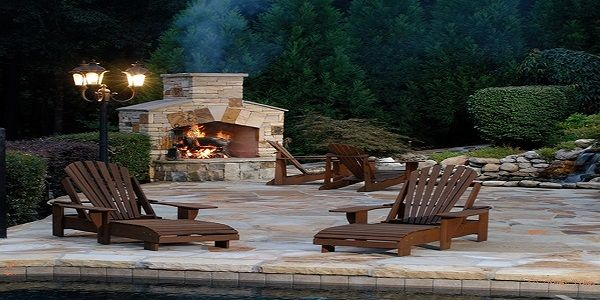 Astonishing Outdoor Stone Fireplace Design