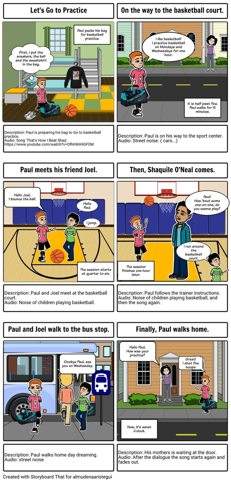"""Let's Go to practice by: almudenaaristegui- Day dreaming with Aaron Carter - """"That's How I Beat Shaq""""song. This is my first storyboard and I dropped the idea of making a scene for the video because  It did not know how to do it. Moreover, I teach in the preschool and elementary grades and the song I chose is best for tweens."""