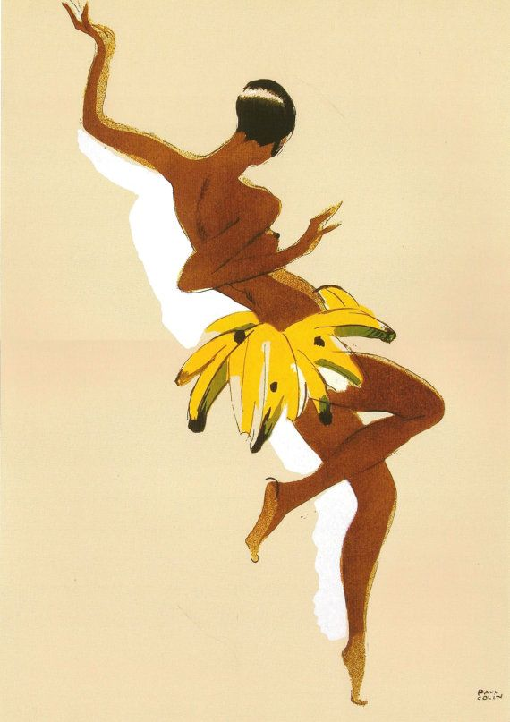 Antique French advertising print - JOSEPHINE BAKER Banana Paul Colin - Art Deco via Etsy