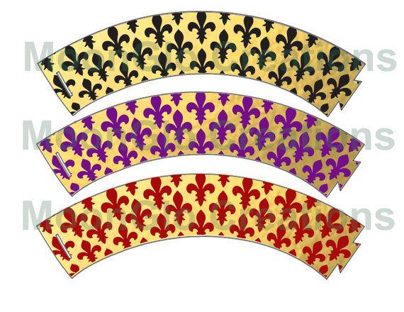 Fleur de lis cupcake wrappers. Printable by MoonGloCreations