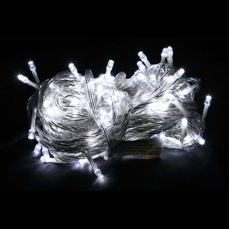 100pc Connectable Fairy Lights - White with Clear Wire - Christmas Elves