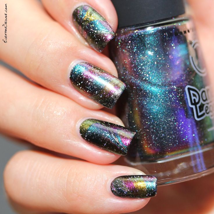 Oil Slick Nails: Multichrome Watermarble with Dance Legend Milky Way, Comet Tail, Solar Eclipse and Protuberance