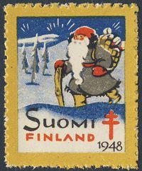 【1948年 未使用 ヒンジなし】プレゼントをエッホエッホ運ぶサンタクロース。トナカイとは別行動のようですね。シールのサイズ:縦35×横28mm