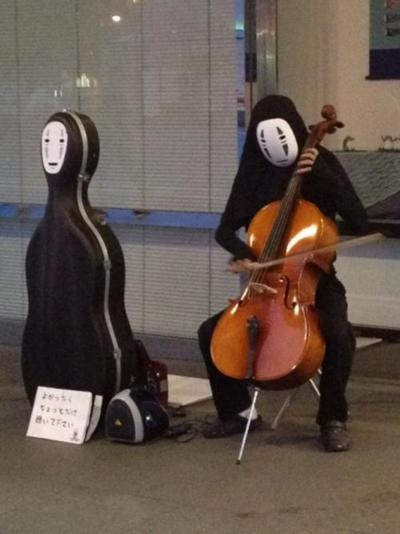 Spirited Away - I don't know what's better... No Face playing cello or the case.