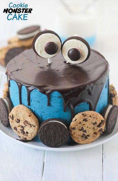 What a fun cake to make is this cookie monster cake , great to make for a child or adult Birthday This cake has cookie dough in the middle which is egg free .. a great cake if you are a cookie fan .. so ehy not check out this amazing recipe for this fun cake