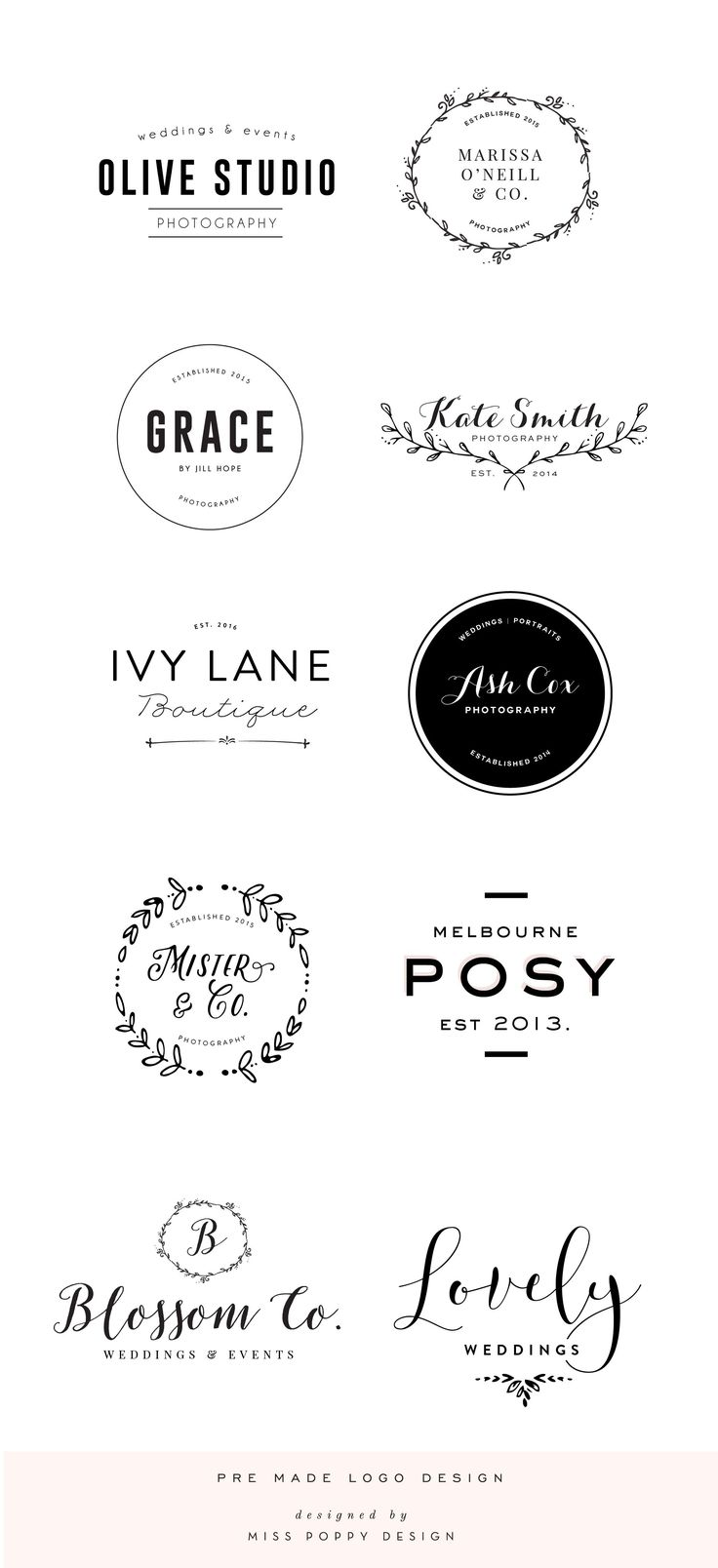 Pre Made Logo Design: Boutique: Phtographer: Small Business: Florist: Wedding: Laurel: Calligraphy // by Miss Poppy Design www.misspoppydesignshop.com  https://www.kznwedding.dj