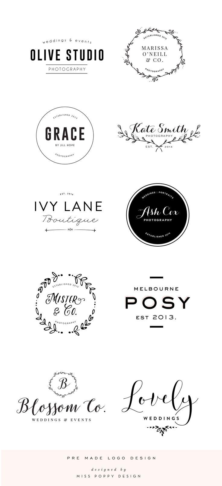 Pre Made Logo Design: Boutique: Phtographer: Small Business: Florist: Wedding: Laurel: Calligraphy // by Miss Poppy Design www.misspoppydesignshop.com                                                                                                                                                                                 Más