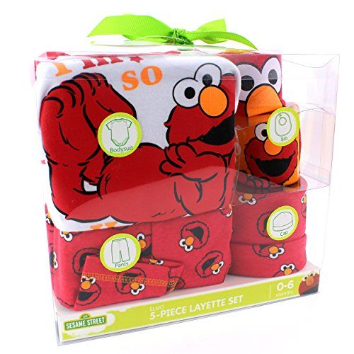 Sesame Street Elmo Baby 5 piece Layette Gift Set 06M Elmo Red * You can find out more details at the link of the image.