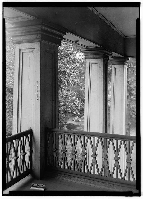 8.  Historic American Buildings Survey Alex Bush, Photographer, October 5, 1936 CLOSE-UP OF COLUMNS ON SOUTH END OF PORCH - Alfred Battle Home, Greensboro Avenue, Tuscaloosa, Tuscaloosa County, AL