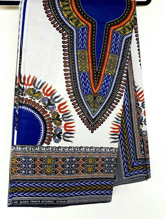 White Dashiki Fabric/ Dashiki/ Dashiki print/ Dashiki dress/Ankara Fabric / Wax Print / African Clot