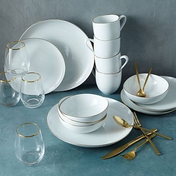 40-Piece Gold Tableware Starter Set #westelm