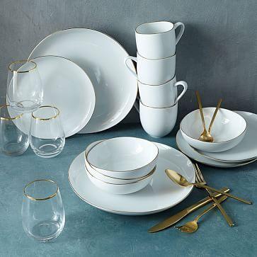 Gold Starter Set: Gold Rimmed Organic Dinnerawre/Gold 20-Pc Flatware Set/Gold Metallic Rimmed Wine Glass, Set of 4