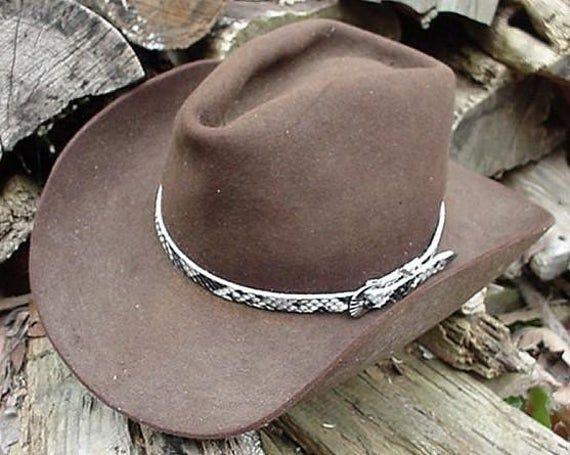 Western Hatband Black /& White Genuine Python Snake Skin with 3 Pc Buckle Set