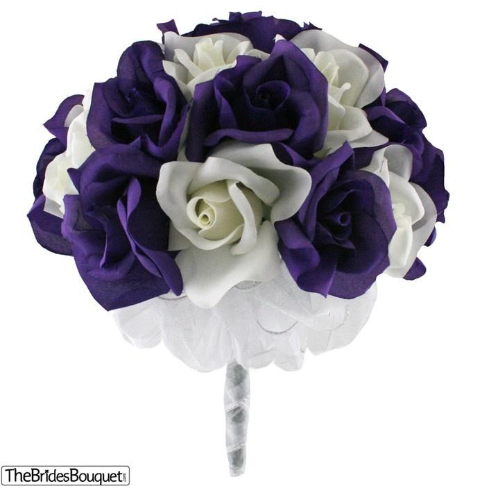 TheBridesBouquet.com - Purple and Ivory Silk Rose Hand Tie (2 Dozen Roses) - Bridal Wedding Bouquet, $34.99 (http://www.thebridesbouquet.com/purple-and-ivory-silk-rose-hand-tie-2-dozen-roses-bridal-wedding-bouquet/)