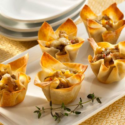 Cheese and Sausage Wonton Appetizers