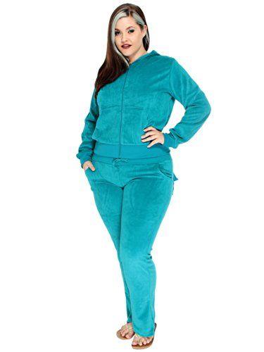 Women's plus size velour pant suits