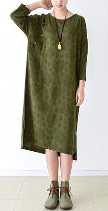 2016 fall grass green cotton dresses plus size linen maxi dress