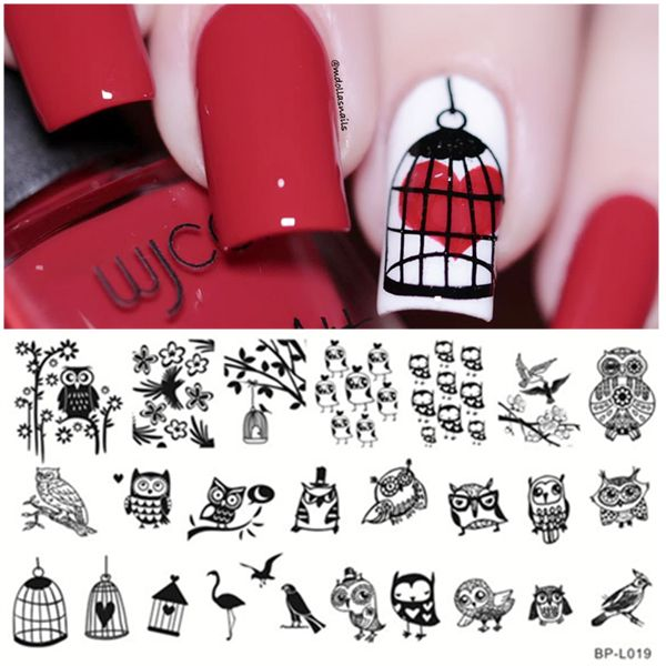 Lovely Owl Pattern Nail Art Stamp Stamping Template Image Plates BORN PRETTY BP-L019 12.5 x 6.5cm Stamp Plate Set Nail Art