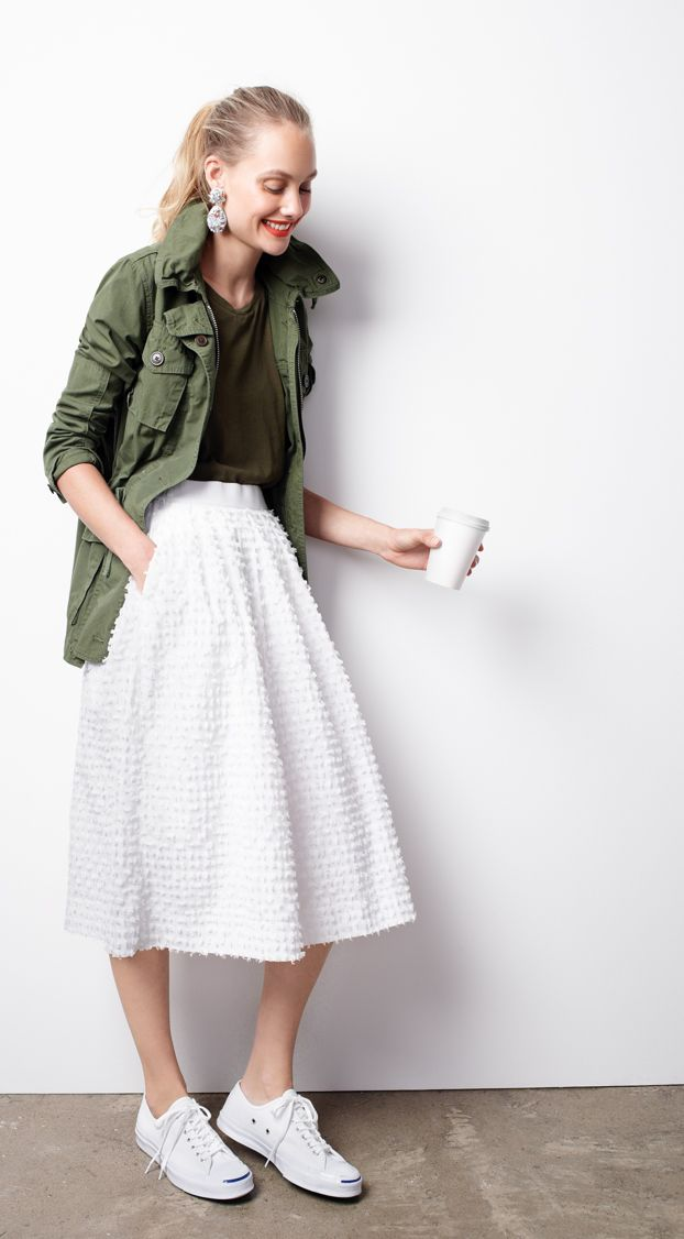 J.Crew Looks We Love: women's field mechanic jacket, tissue T-shirt, midi skirt in cotton clip-dot, chambray crystal earrings and Converse® Jack Purcell® signature sneakers.