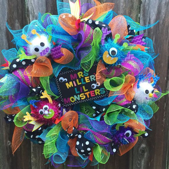 Monsters Inspired teacher and birthday wreath by ChicAffair