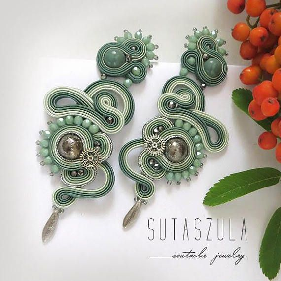 Sage green earrings Soutache gift for women olive mint