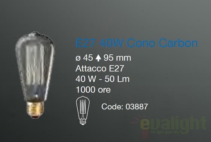 Bec decorativ E27 40W CONO CARBON 03887 Ideal Lux - Corpuri de iluminat, lustre, aplice