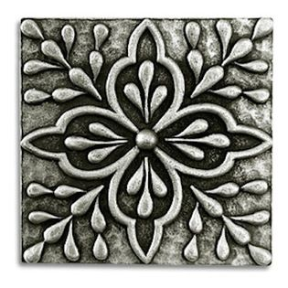 """Compliments Accessories - Donatella Tile - Old world Mediterranean floral design 2x2"""" tile in a Pewter finish"""
