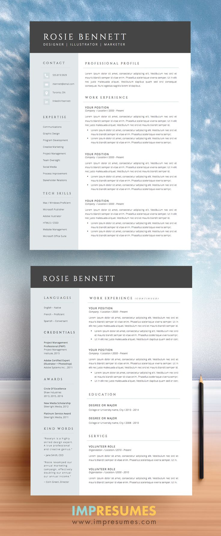 """You know you're the perfect candidate for the job. You just need the hiring manager to see it too. Elegant and sophisticated, The """"ROSIE"""" template package includes a two-page résumé, cover letter, references page and an FAQ package complete with free downloadable fonts. Download this professionally designed, easily modified, template and start applying for your dream job today."""