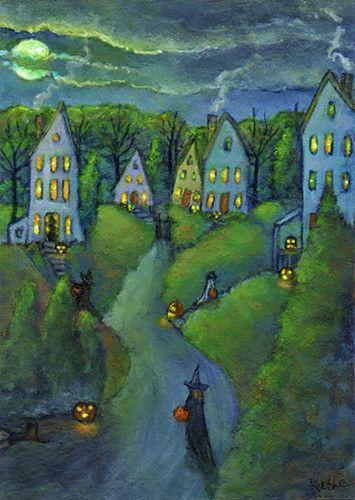 Original ACEO Painting Halloween Trick or Treat Jacks Cat Art by Kathe Soave | eBay