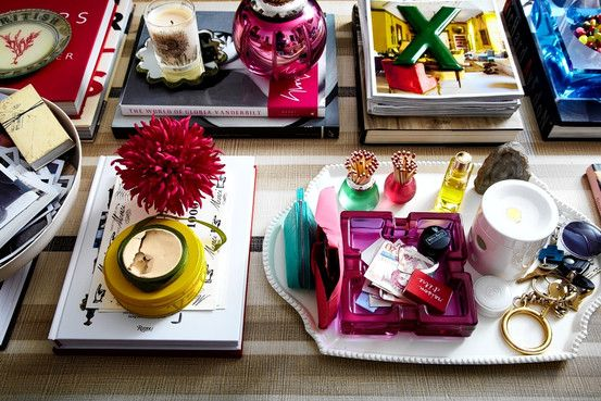 Trays on coffee table.: Trays, Vignettes, Coffee Tables, Black And White, Colors Combinations, Rita Konig, Jewels Tones Colors, Bright Colors, Coff Tables Books
