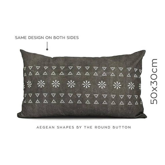 Minimalist pillow, monochrome cushion, lumbar pillow, charcoal grey, bedroom decor trends, coussin, toss pillow, couch pillow, 50x30cm
